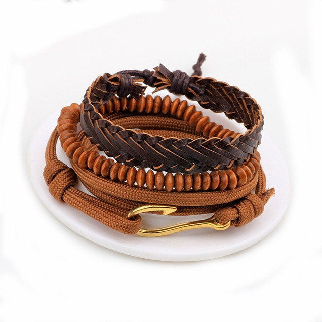 Multi-Layer Leather Bead Bracelet - 10-bracelet-Dapper Luks