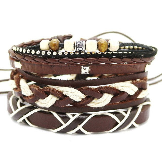 Multi-Layer Leather Bead Bracelet - 2-bracelet-Dapper Luks