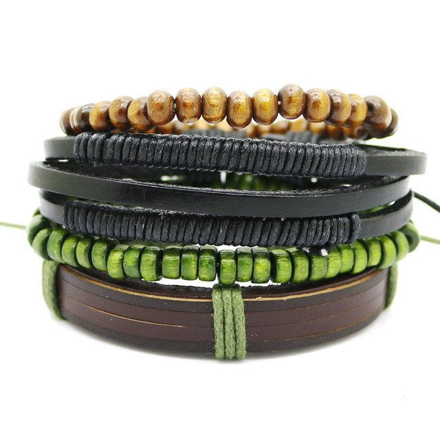Multi-Layer Leather Bead Bracelet - 4-bracelet-Dapper Luks