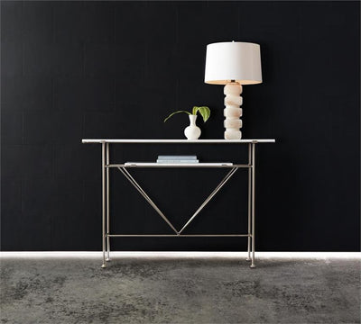 the Hooker Furniture  contemporary 638-85414-WH living room occasional console table is available in Edmonton at McElherans Furniture + Design