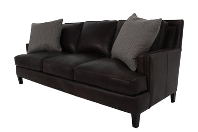 the Bernhardt  transitional Addison living room leather upholstered sofa is available in Edmonton at McElherans Furniture + Design