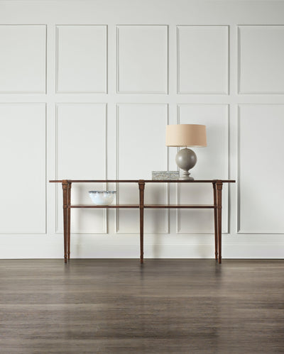 the Hooker Furniture  transitional 5589-85001-DKW living room occasional console table is available in Edmonton at McElherans Furniture + Design
