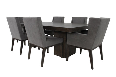 the Linea 7 Piece Dining Room is available in Edmonton at McElherans Furniture + Design
