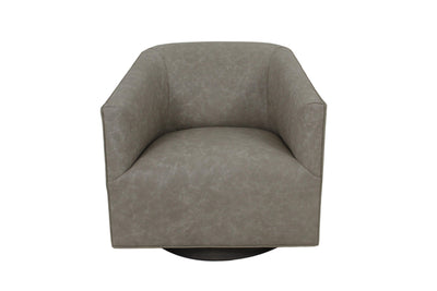 the Marcantonio  transitional Harper living room leather upholstered swivel chair is available in Edmonton at McElherans Furniture + Design