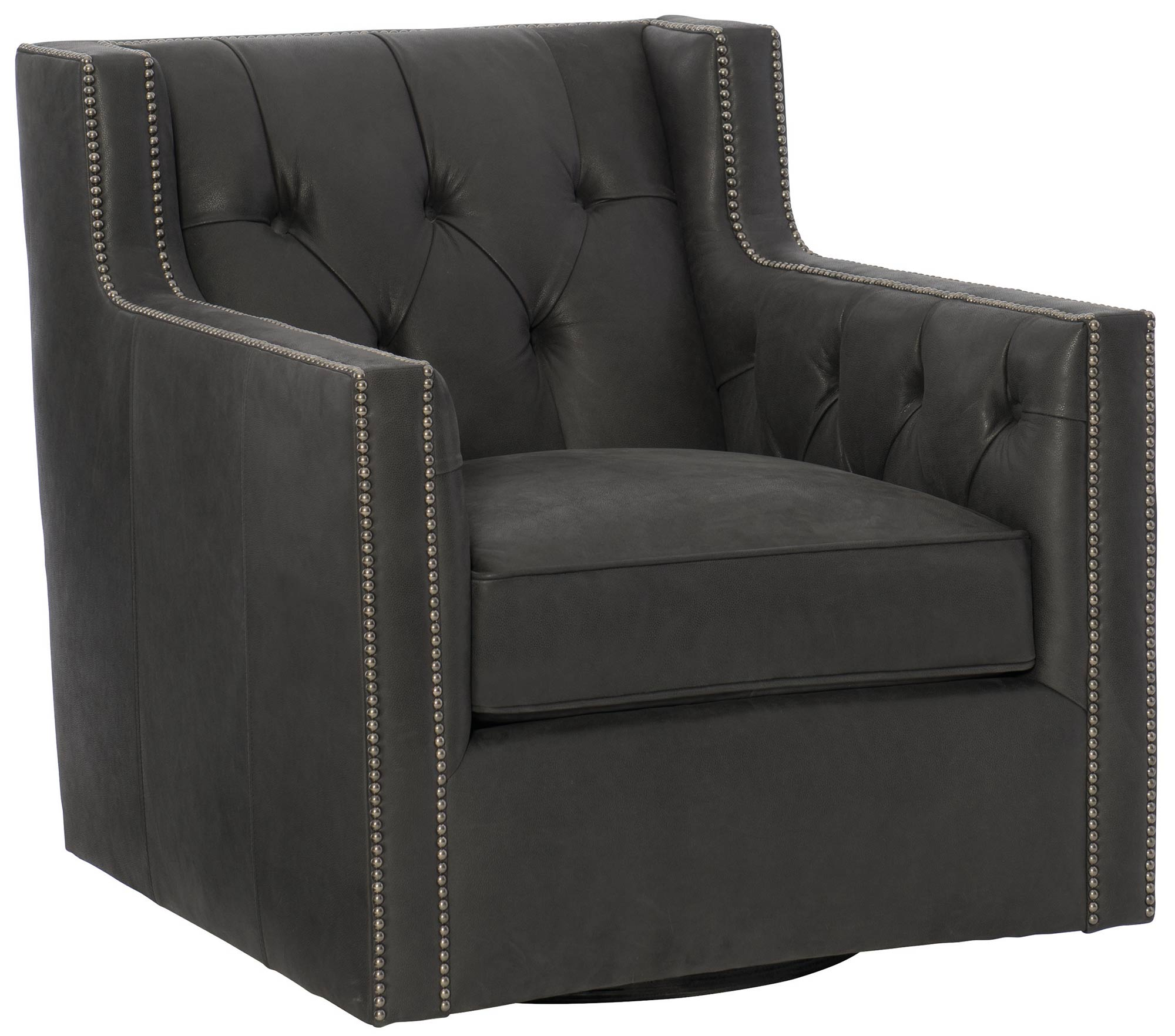 Bernhardt Transitional Candace Living Room Leather Upholstered Swivel Chair