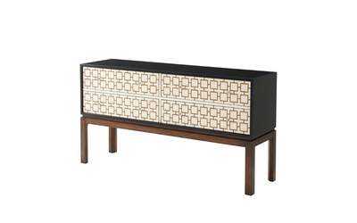 the Theodore Alexander  contemporary KENO6024 living room occasional chest is available in Edmonton at McElherans Furniture + Design