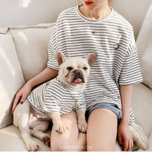 Matching Dog and Owner Striped T-shirt - Smiley Face - GoMine