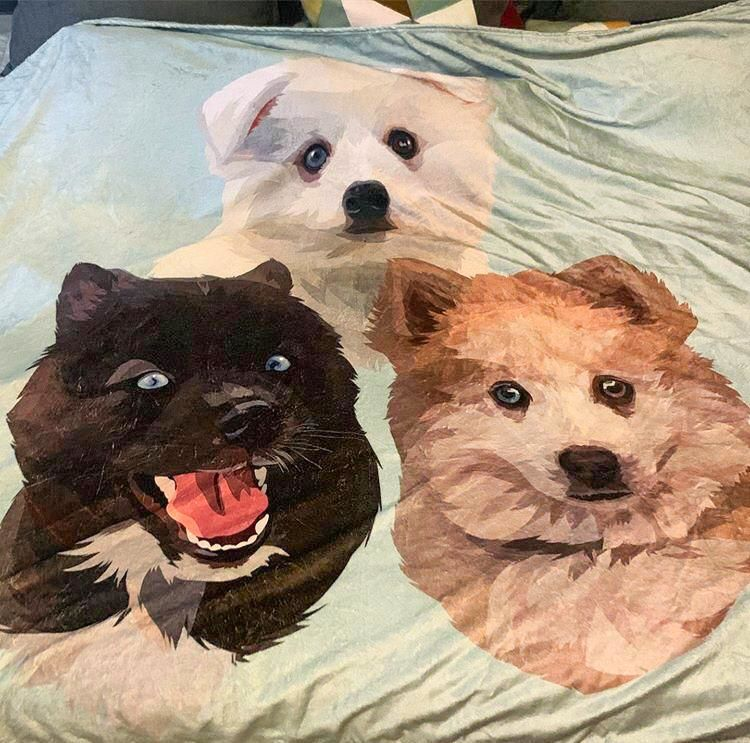 Custom Pet Portrait Fleece Blanket - GoMine