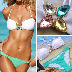 Low Waist Push Up Rhinestone Swimwear