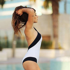 Halter Black One Piece Swimwear