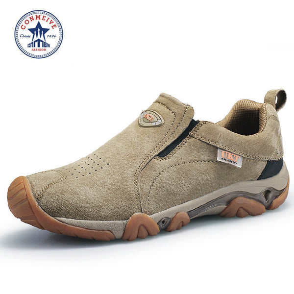 leather  men breathable Walking  shoes
