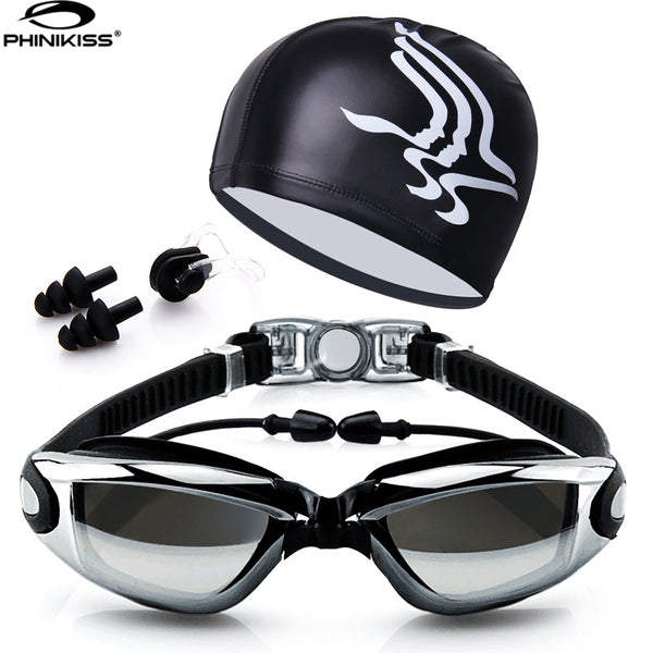 Swim Goggles With Hat and Ear Plug Nose Clip S