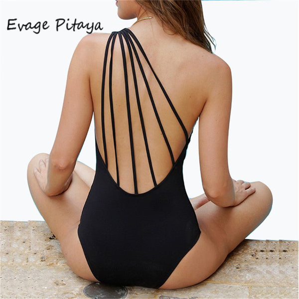 black Bandage Vintage One Shoulder Swimsut