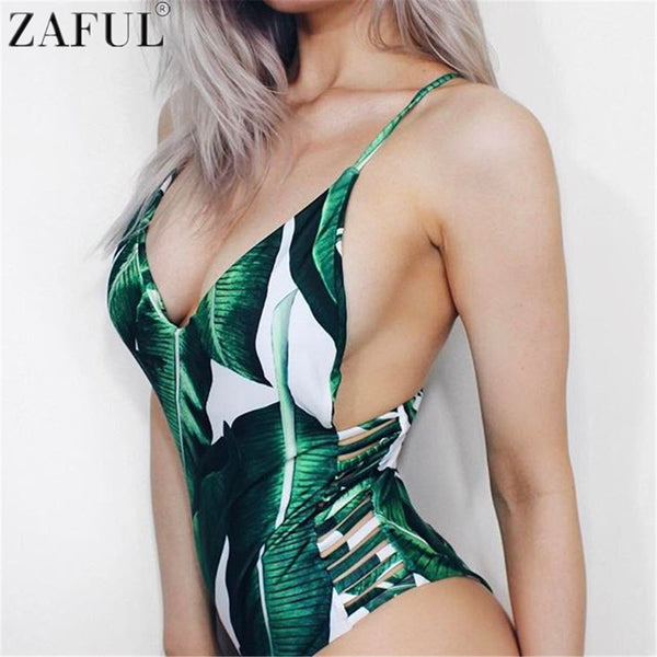 Leaf Print Hollow Out Sexy One Piece Swimsuit