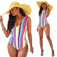 Bandage Unpadded Striped One-Piece Suits
