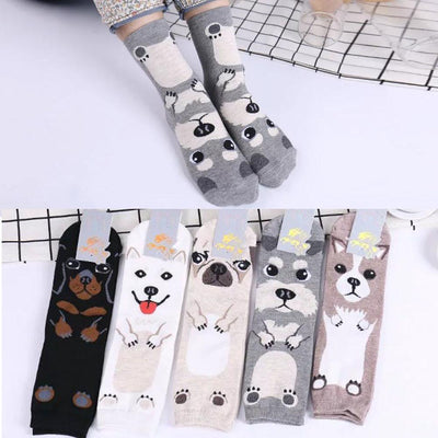 5 Pairs of Cartoon Dog Over Ankle Socks for Women