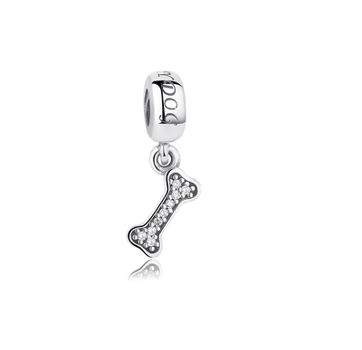 925 Sterling Silver I Love My Dog, Bone Pendant Beads Charm