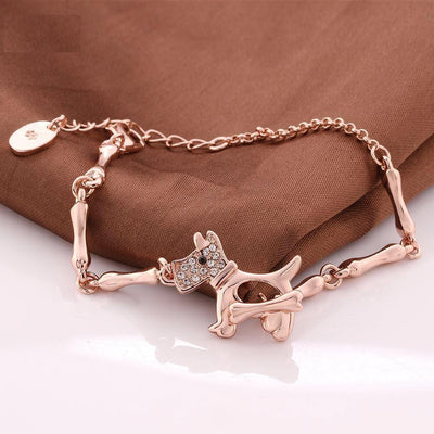 18K Real Gold-plated Puppy & Bone Chain Bracelet