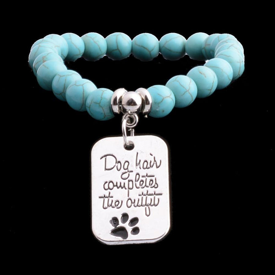 """Dog Hair Completes The Outfit"" Silver Plated Charm Bracelet  - Free + Shipping"