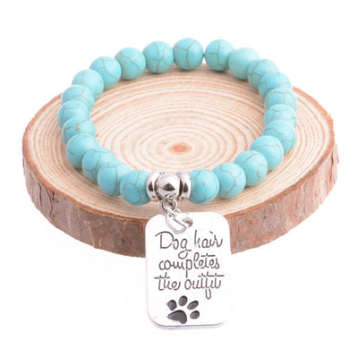 """Dog Hair Completes The Outfit"" Silver Plated Charm Bracelet  - Free + Shipping - DogBlabShop"