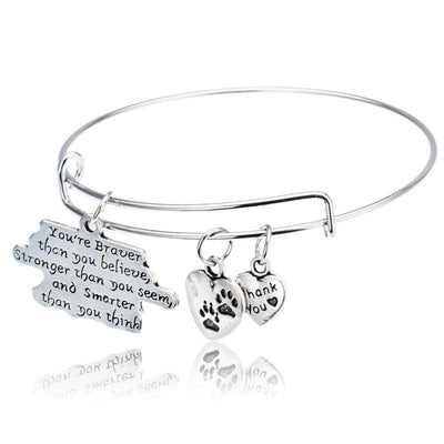 Braver, Stronger, Smarter Heart Charm Bangle Bracelets
