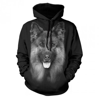 German Shepherd Black Hoodie Sweatshirt-Men and Women's Apparel-DogBlabShop