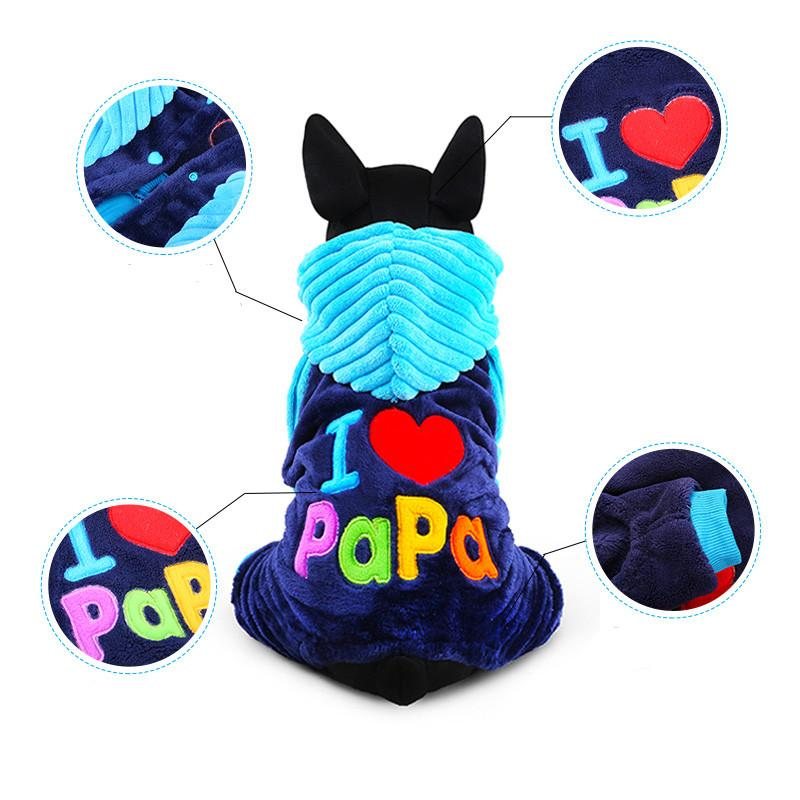 I Love Papa and I Love Mama Winter Dog Clothing For Small And Large Dogs