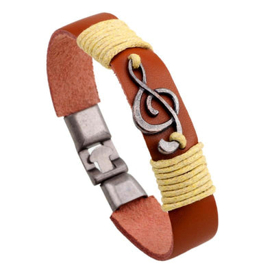 G-Clef Leather Cuff Bracelets for Men and Women
