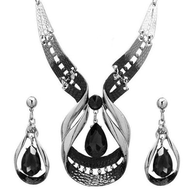Crystal Statement Necklace and Earrings Set for Women