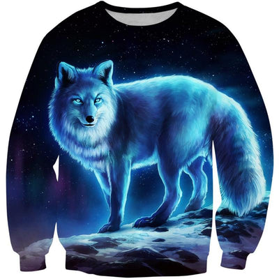 3D Glowing Wolf-Dog Sweatshirt