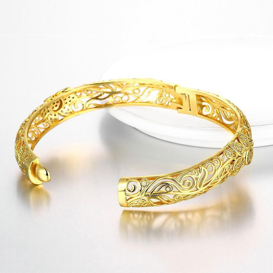 24K Gorgeous Gold and Rose Gold Bangle Bracelets for Women