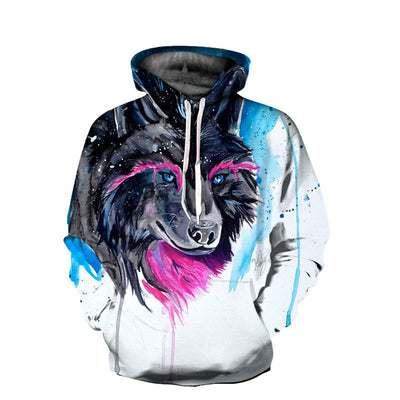 3D Black Wolf-Dog in White Hoodie Sweatshirt
