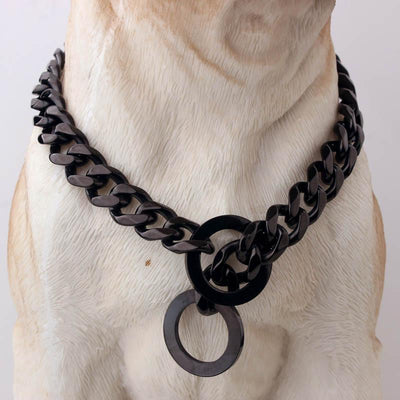 316L Stainless Steel Dog Chain Collar in Black, Silver and Gold - DogBlabShop