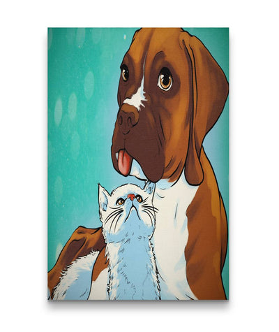 Beautiful Canvas Wall Decor Boxer with Kitten (Portrait)