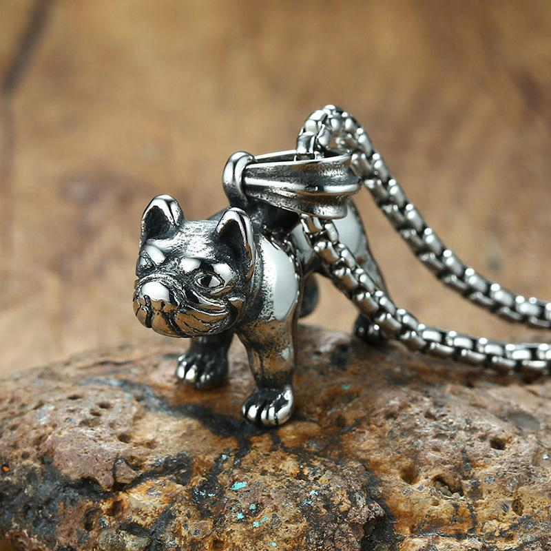 Stainless Steel French Bulldog Pendant Necklace for Men