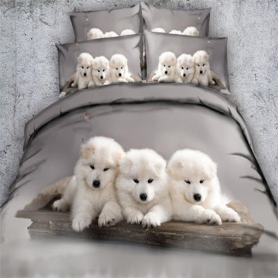 White Puppies Bedding Set-Bedding Sets-DogBlabShop