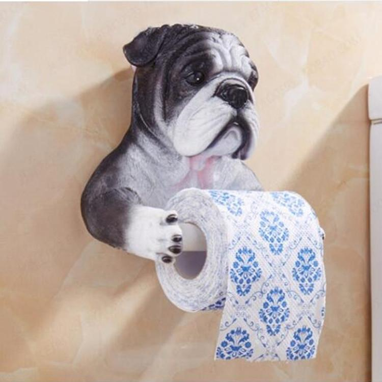 3D Bulldog Toilet Paper Holder