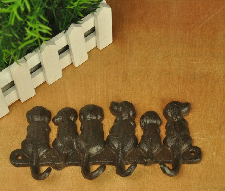 6 Dogs Cast Iron Wall Hook Rack