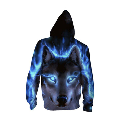 3D Mighty Dog-Wolf Hooded Jacket