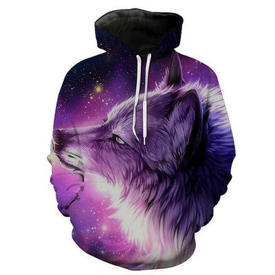 3D  Purple Wolf-Dog Hoodie Sweatshirt