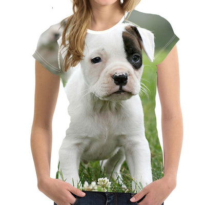 3D Pitbull Terrier T-Shirt for Women - DogBlabShop