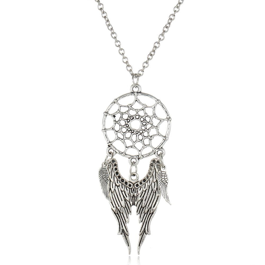 Antique Dream Catcher Pendant Necklaces in Silver for Women