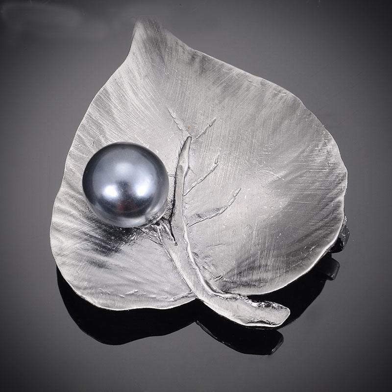 Antique Silver Leaf with Gray Pearl Brooch for Men and Women ...