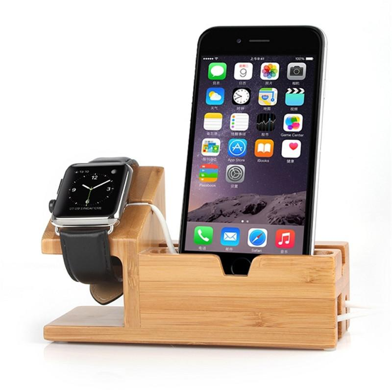 Wooden Stand and Charger Dock for Apple iPhone and  Watch Holder