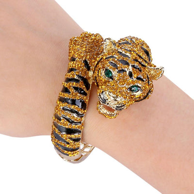 Crystal-Studded Tiger Bracelets for Women