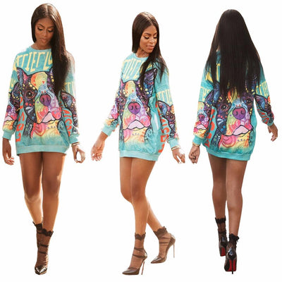 Colorful Dog Print Full Sleeve Dress - DogBlabShop
