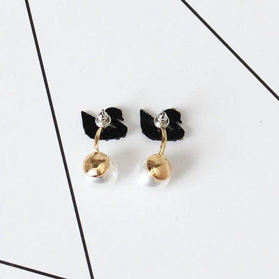 Black Swan Cubic Zirconia Pearl Earrings