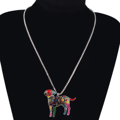 Labrador Retriever Fashionable Enamel Pendant Necklace  With Chain