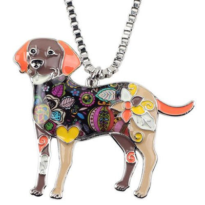 Labrador Retriever Fashionable Enamel Pendant Necklace With Chain-Pendant Necklaces-DogBlabShop