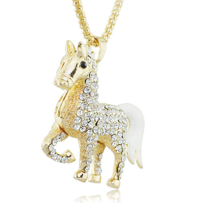 Crystal Enamel Horse Pendant Necklaces for Women
